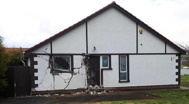 The damaged house in Feeny after a tractor crashed into the side of the property.