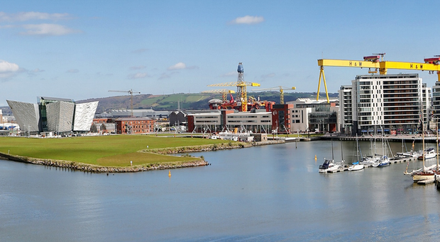 Today's much-changed skyline at Belfast harbour