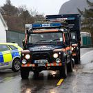 Emergency services arrive on the scene after the tragedy at the Gap of Dunloe in Co Kerry yesterday