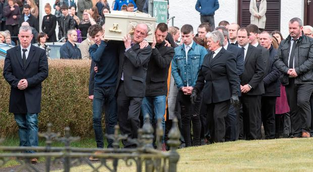 The funeral of Kerrie Canning takes place at St Patrick's Church in Claudy yesterday