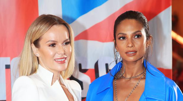 Amanda Holden and Alesha Dixon attend the auditions for Britain's Got Talent at The Lowry in Salford