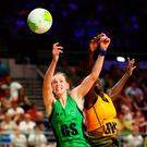 Noleen Lennon of Northern Ireland battles with Shonette Azore-Bruce of Barbados