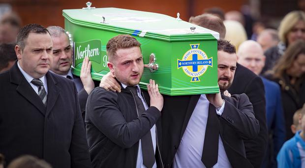 The funeral of Carter Carson takes place in Newtownabbey on April 10th 2018 (Photo by Kevin Scott / Belfast Telegraph)