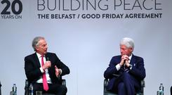 Former Prime Minister Tony Blair and former US President Bill Clinton at an event to mark the 20th anniversary of the Good Friday Agreement, at Queen's University in Belfast. PRESS ASSOCIATION Photo. Picture date: Tuesday April 10, 2018. See PA story ULSTER GoodFriday. Photo credit should read: Brian Lawless/PA Wire