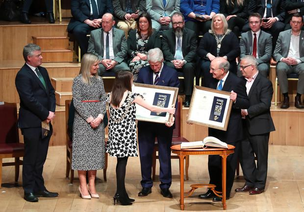 Ceremony held in historic setting of the Ulster Hall to confer the Freedom of the City of Belfast on President Bill Clinton and Senator George J. Mitchell.