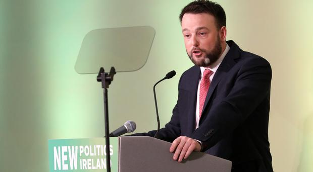SDLP party leader Colum Eastwood delivers his speech at Saturday night's annual conference at Titanic Belfast