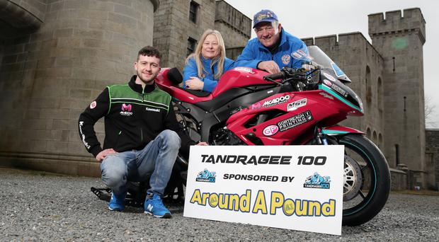 On the grid: Adam McLean joins Gerard Rice of title sponsors Around a Pound and clerk of the course Anne Forsythe at Gosford Castle to launch the 2018 Tandragee 100 road races