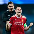 What a night: James Milner (front) with Danny Ward