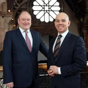 Pictured at Campbell College in Belfast is Graham Childs, ICT Specialist at BT Business in Northern Ireland and Karl Wilson, Bursar at Campbell College