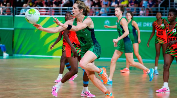 Tough task: Caroline O'Hanlon against Malawi yesterday