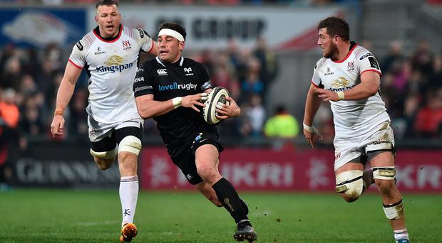 Sean Reidy of Ulster and Kieron Fonotia of Ospreys during the Guinness Pro14 rugby game at Kingspan Stadium on April 13, 2018 in Belfast, Northern Ireland. (Photo by Charles McQuillan/Getty Images)