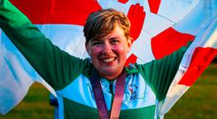 Flying the flag: Kirsty Barr celebrates her silver success