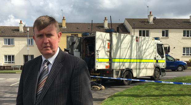 DUP MLA Mervyn Storey at the scene of a pipe bomb attack in Ballymoney. Credit: DUP