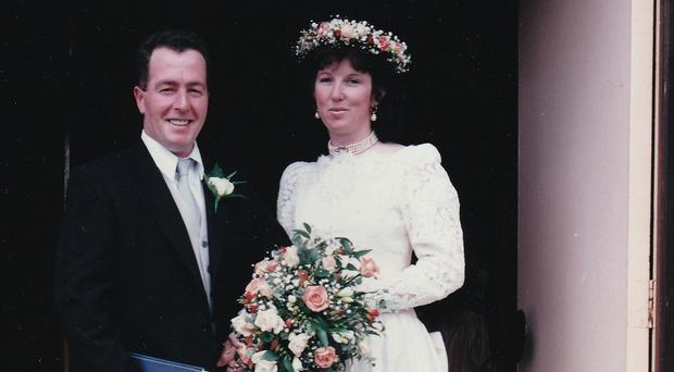 Happy couple: Karen English and her husband, Brian McEneny