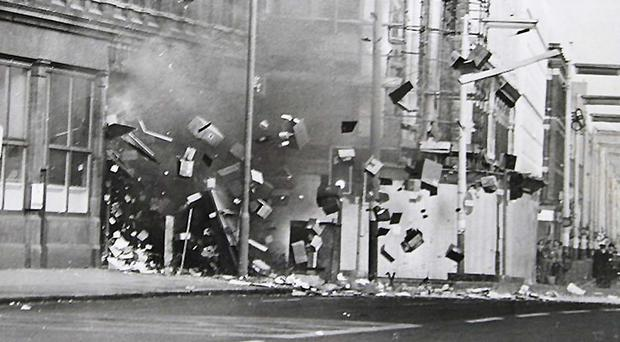 A bomb explodes in a stationery shop in Royal Avenue in Belfast in 1976