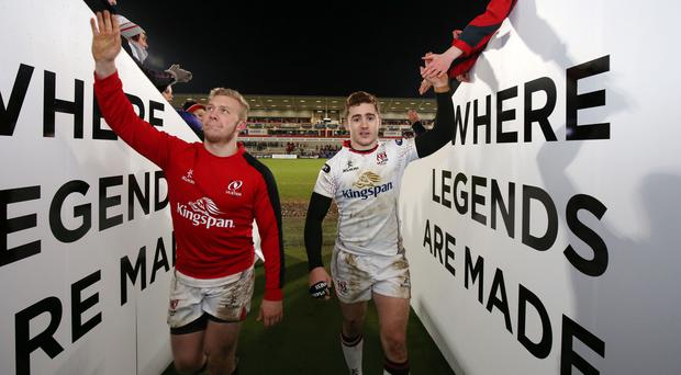 Stuart Olding and Paddy Jackson after Ulster match