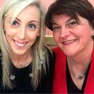 Carla Lockhart (left) and Arlene Foster posed for a picture during a DUP dinner