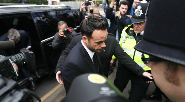 TV presenter Anthony McPartlin centre arrives at The Court House in Wimbledon, London (Steve Parsons/PA Wire)