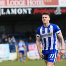 Coleraine's Josh Carson walks off after receiving a red card during Saturday's derby.