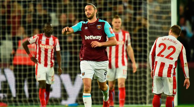 Late show: Andy Carroll after his last-minute equaliser