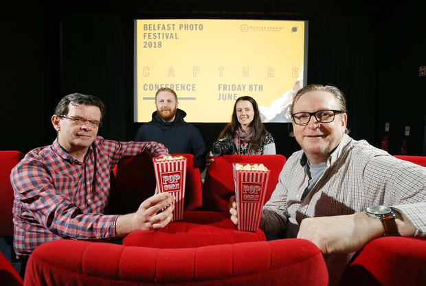 Pictured (L-R) launching the inaugural Capture Conference at the QFT are (back row) Kris Kelly, Managing Director at Enter Yes; Maggie McKeever, Festival Coordinator at Belfast Photo Festival; (front row) Barry Desmond, Sales & Marketing Director at Alexander Boyd Displays and Phil Morrow, CEO at Retinize.