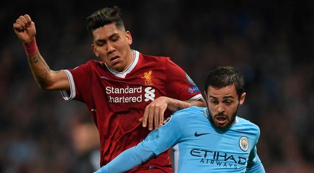 Familiar foes: Roberto Firmino and City's Bernardo Silva