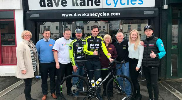 Fundraising team: (from left) Anne Holland (CAUSE), Barry Scott and Stuart Rae (Sainsbury's), Mark Kane, Adam Carroll, Trudi Heaney (Sainsbury's), Dave Kane, Sarah Mathews (EHA) and Andy Reid