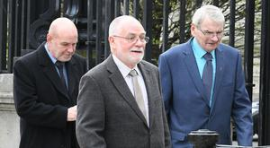 Three of the 'Hooded Men' at Belfast High Court on Wednesday. Picture: Alan Lewis