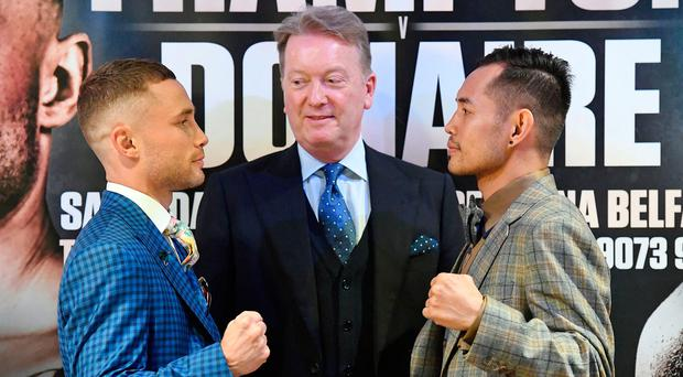 Face-off: Carl Frampton (left) and Nonito Donaire at Europa Hotel yesterday as Frank Warren looks on