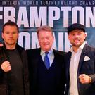 Almost time: Conrad Cummings (right) and Luke Keeler at the Europa with promoter Frank Warren yesterday