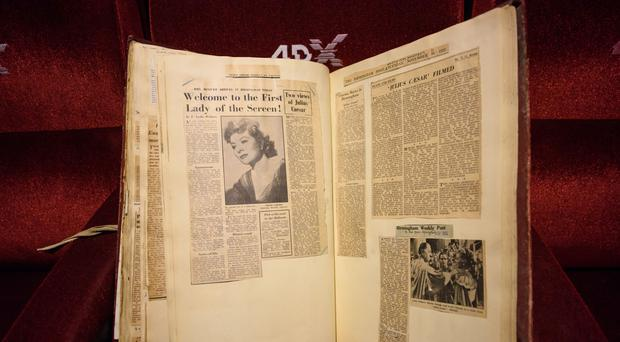 A book of press clippings from the 1950s found during the refurbishment of the Cineworld Leicester Square cinema in London (Matt Crossick/PA)