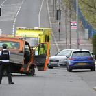 Police seal off the Ballysillan Road in Belfast after a serious crash. It is believed a hit and run driver in a stolen car hit a person. Police are at the scene. Pic: Alan Lewis - PhotopressBelfast.co.uk