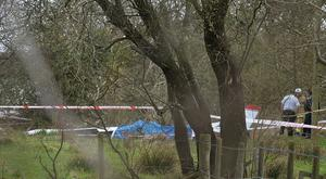 Emergency services at the scene, after a light aircraft fire at Nutts Corner, County Antrim / Credit: Pacemaker