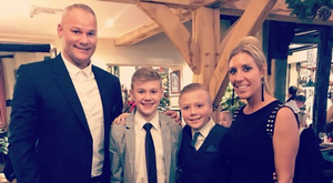 Family fortunes: Brian Jensen with his wife Maria and sons Jamie and Sebastian