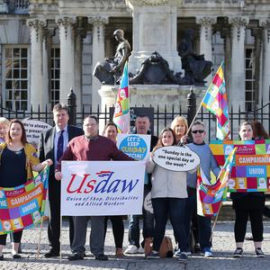 Shopworkers hold a protest at Belfast City Hall over proposed longer Sunday trading hours which the city council are debating. Picture by Jonathan Porter/PressEye