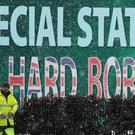 A Sinn Fein billboard calling for 'No Hard Border' on display in Belfast (Brian Lawless/PA)