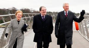 John and Patricia Hume with Bill Clinton in Derry in 2014