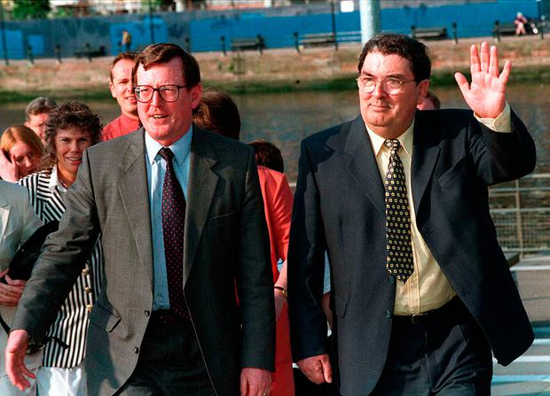John Hume (right) with fellow peace deal broker David Trimble