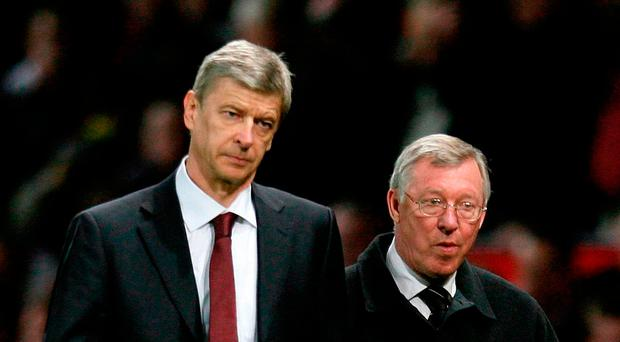 Arch rivals: Wenger and United manager Sir Alex Ferguson