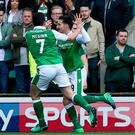 Hibernian's Jamie MacLaren (right) celebrates scoring his sides first goal with John McGinn.