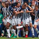 West Bromwich Albion's Salomon Rondon (centre) celebrates scoring his side's equaliser.