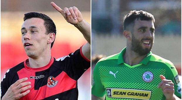 Paul Heatley (left) and Joe Gormley (right) scored two outstanding goals at Seaview.
