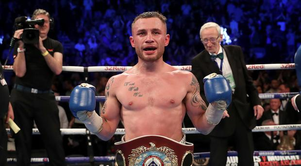 Carl Frampton defeats Nonito Donaire to win the WBO Interim featherweight title at the SSE Arena, Belfast on Saturday night.