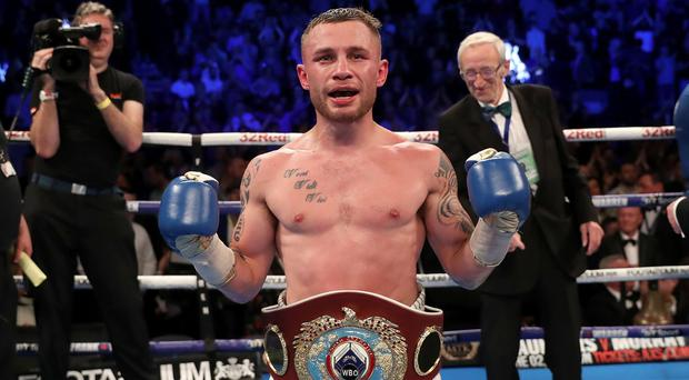 Carl Frampton celebrates beating Nonito Donaire to win the WBO Interim featherweight title last month.