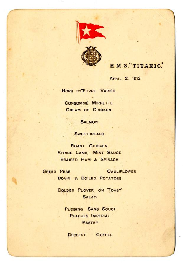Menu of the first meal ever served on the Titanic which sold for £100,000 at auction.