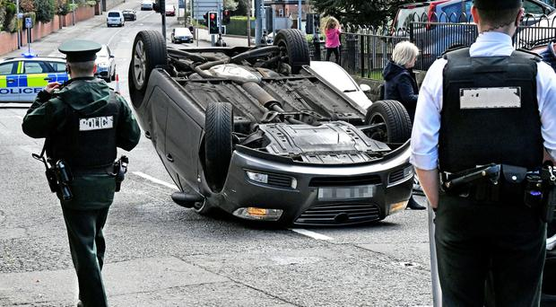 The Kings Road in east Belfast was closed after a car crash. Alan Lewis- PhotopressBelfast.co.uk