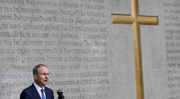 Party leader Micheal Martin speaks during the annual Fianna Fail 1916 Easter Rising commemoration at Arbour Hill cemetery in Dublin (Brian Lawless/PA)