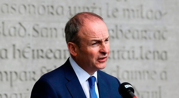 Party leader Micheal Martin speaking during the annual Fianna Fail 1916 Easter Rising commemoration at Arbour Hill cemetery in Dublin