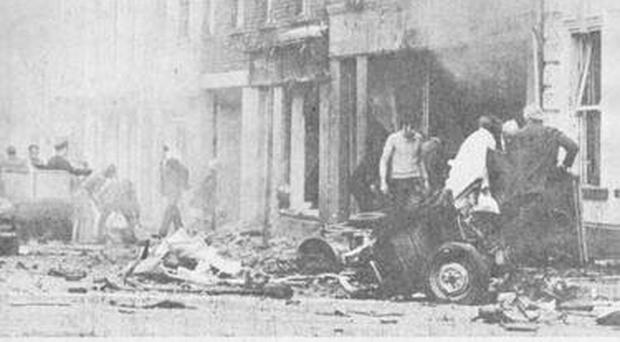 The scene of the Coleraine bombing in 1973