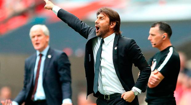 Boss man: Antonio Conte urges his Chelsea side